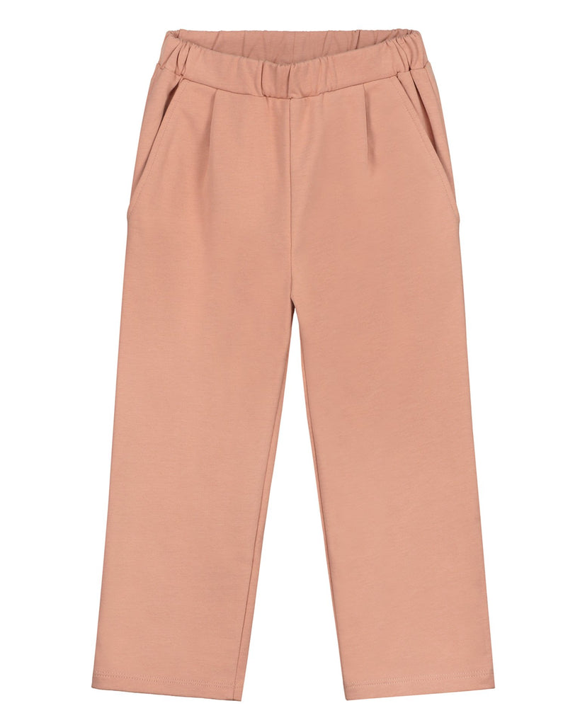 Little gray label girl relaxed pleated trousers in rustic clay