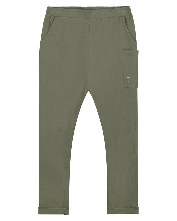 Little gray label boy relaxed pocket trousers in moss