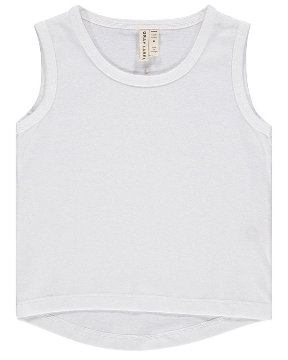 Little gray label girl tank top in white