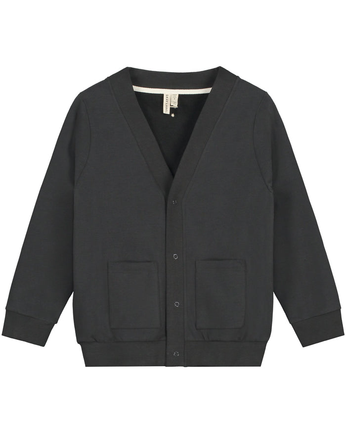Little gray label girl v neck cardigan in nearly black