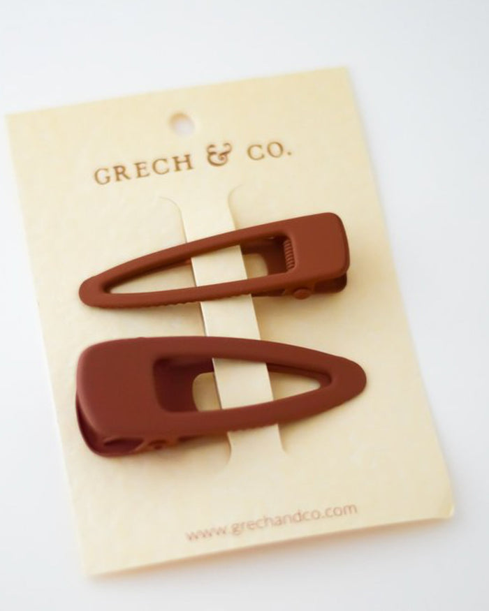 Little grech + co accessories matte clips set of 2 in rust