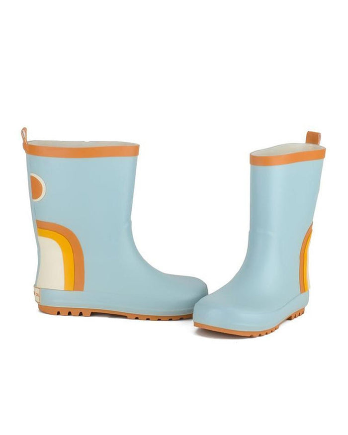 Little grech + co girl rainbow rubber boots in light blue
