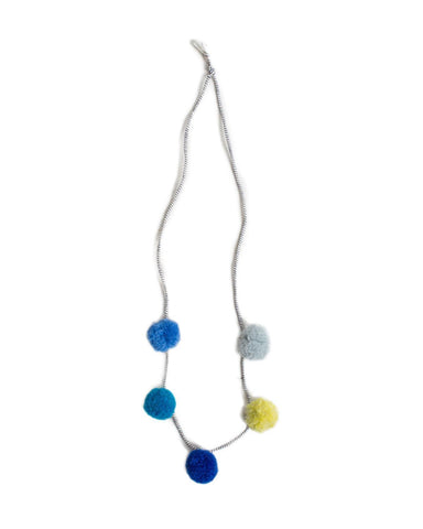 Little h-luv accessories Pompom Necklace in Blue Multi