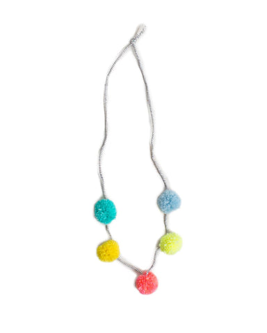 Little h-luv accessories Pompom Necklace in Coral Multi