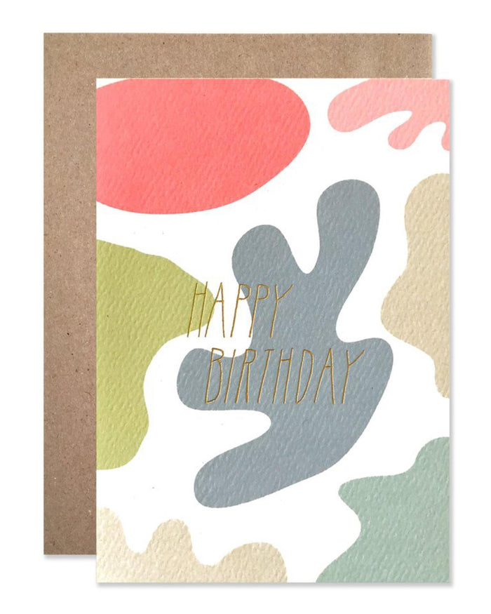 Little hartland brooklyn paper+party Gold Birthday Blobs Card