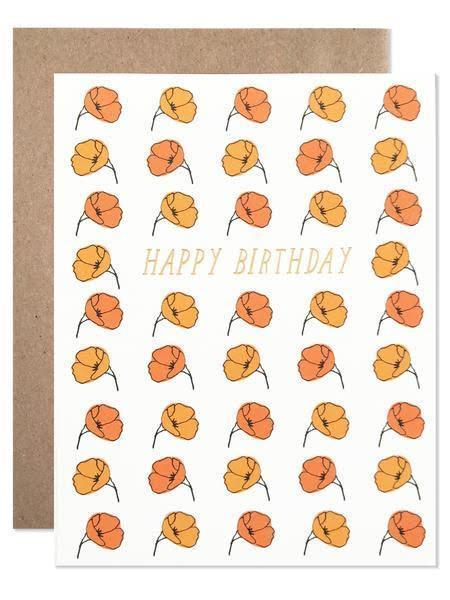 Little hartland brooklyn paper+party happy birthday california poppies with gold foil