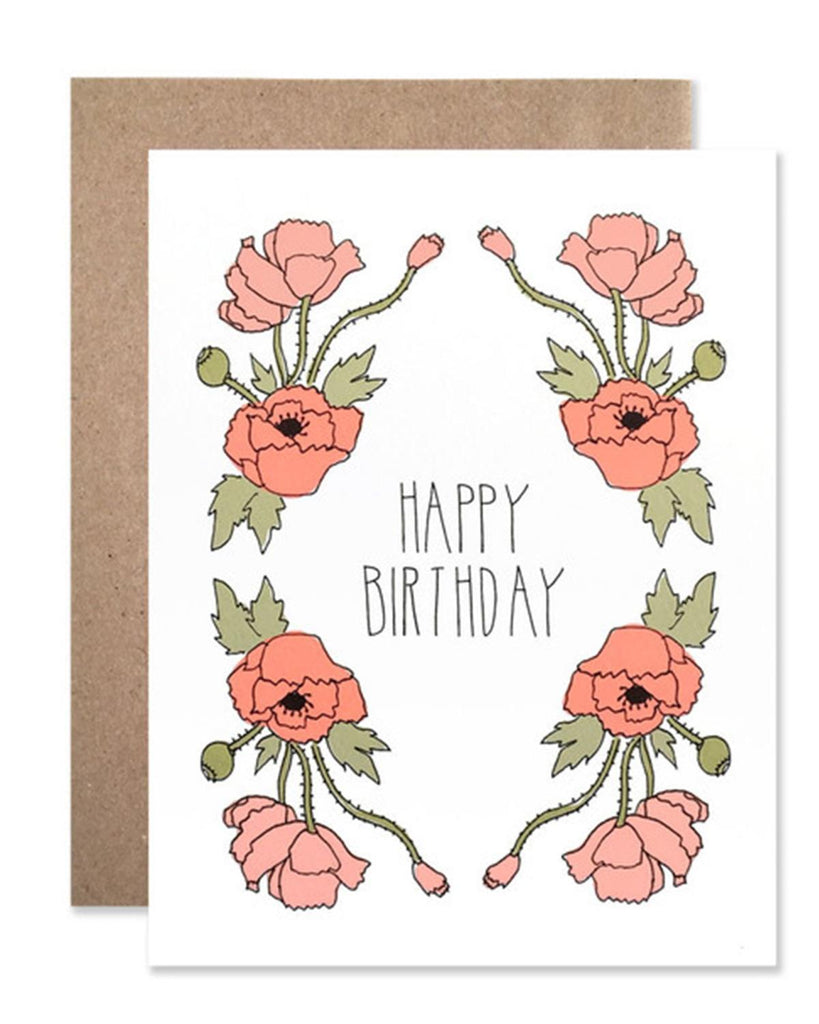 Little hartland brooklyn paper+party Happy Birthday Neon Red Poppies Card
