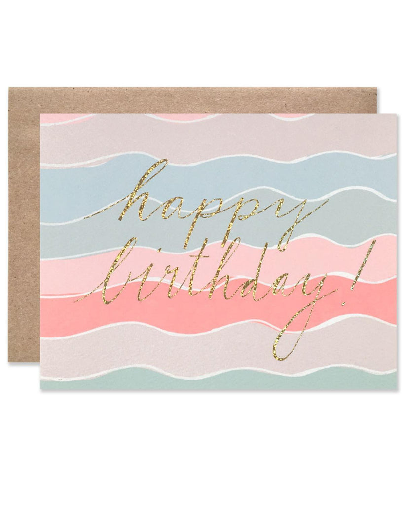 Little hartland brooklyn paper+party Happy Birthday Squiggles with Gold Glitter Foil Card