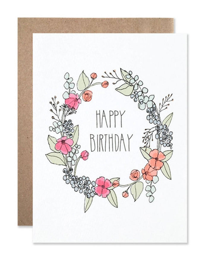 Little hartland brooklyn paper+party Happy Birthday Wreath Card