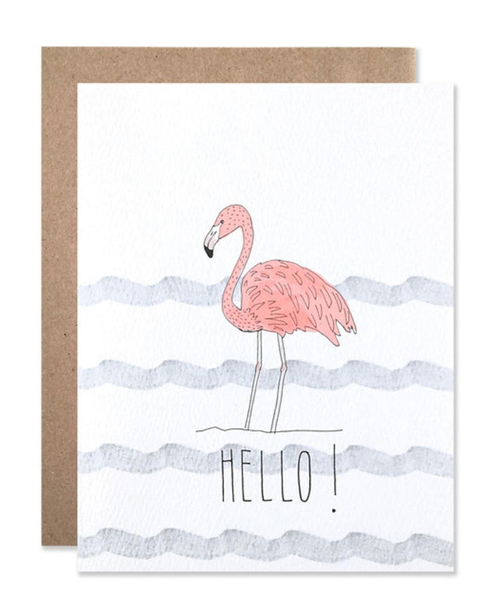 Little hartland brooklyn paper+party Hello! Flamingo Card