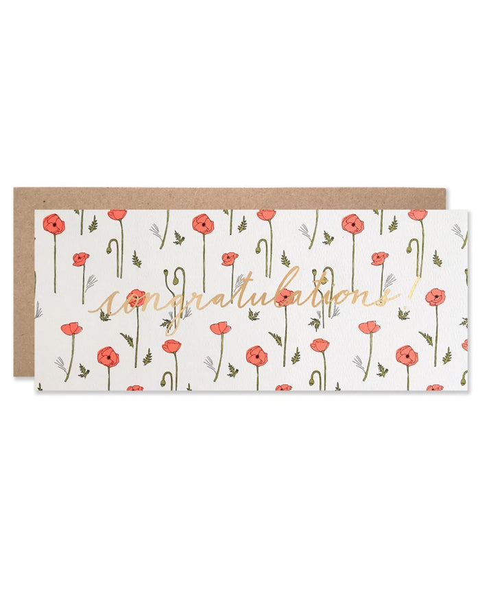 Little hartland brooklyn paper+party Neon Red Poppies Congratulations Card