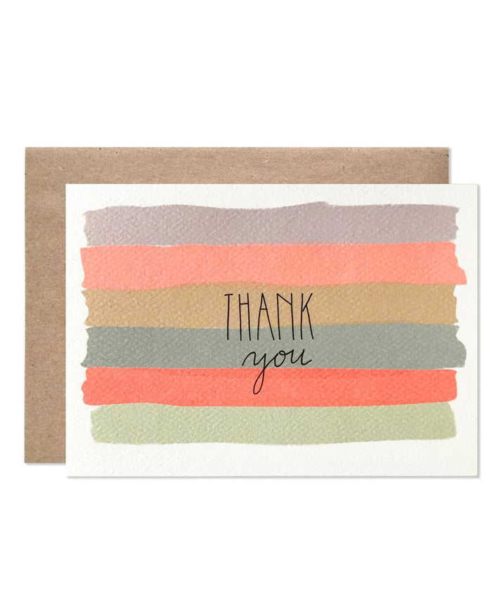 Little hartland brooklyn paper+party watercolor stripes thank you card
