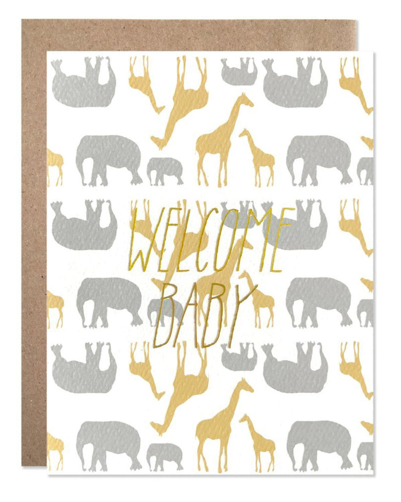 Little hartland brooklyn paper+party Welcome Baby Safari Card