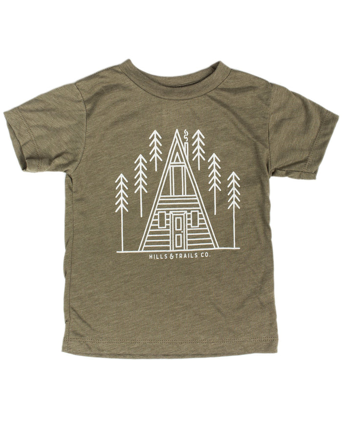 Little hills + trails co. boy aframe cabin toddler tee in forest