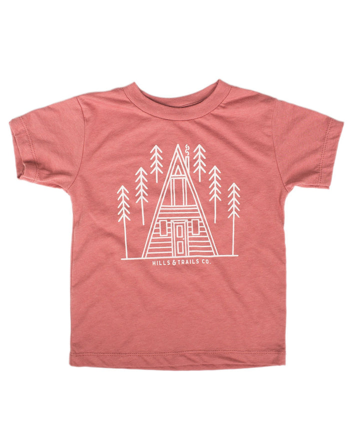 Little hills + trails co. boy aframe cabin toddler tee in mauve
