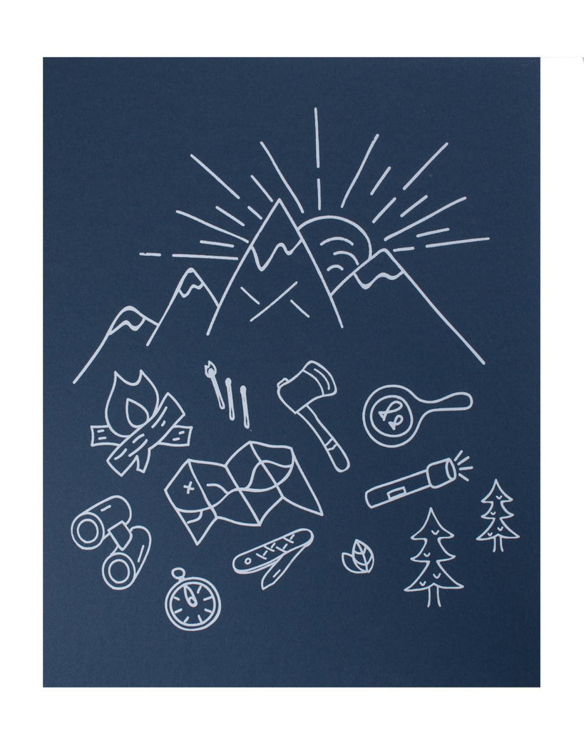 Little hills + trails co. room 11x14 Camping Print in Midnight Blue