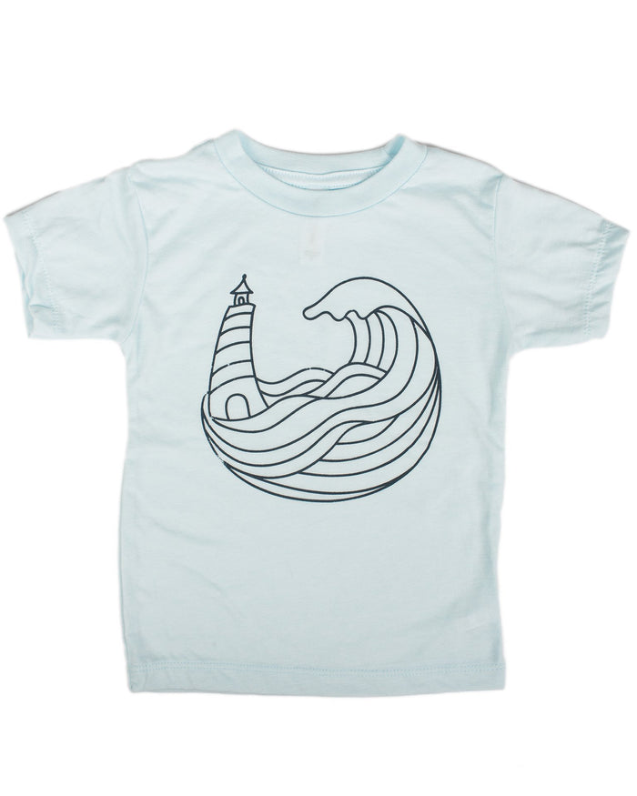 Little hills + trails co. boy land + sea toddler tee in ice blue