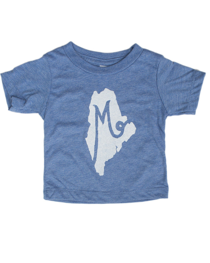 Little hills + trails co. baby boy m is for maine baby tee in blue