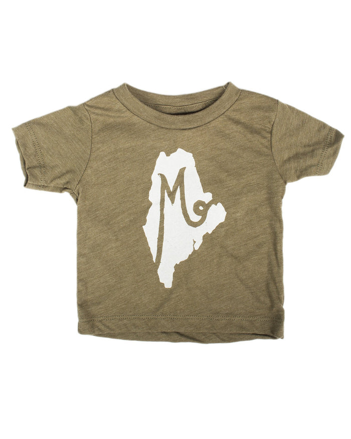 Little hills + trails co. baby boy m is for maine baby tee in forest