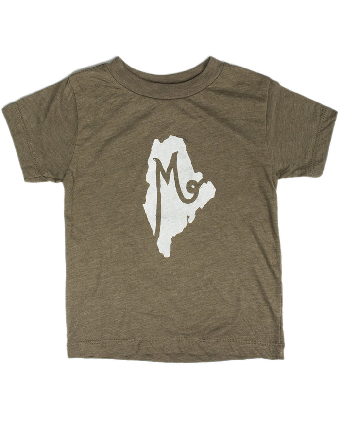 Little hills + trails co. boy m is for maine toddler tee in olive