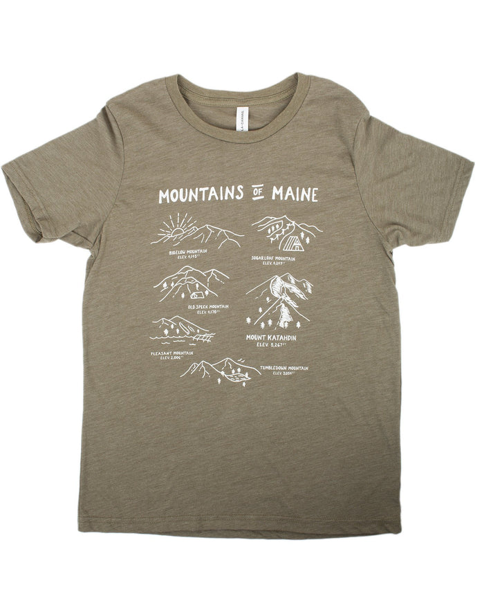 Little hills + trails co. boy mountains of maine tee