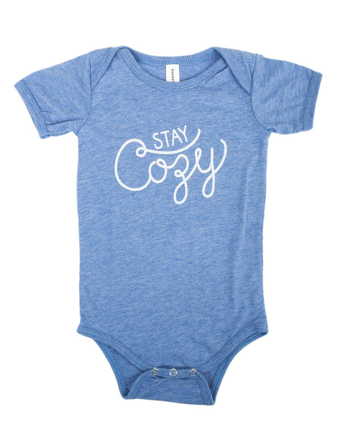 Little hills + trails co. baby boy stay cozy onesie in heather blue