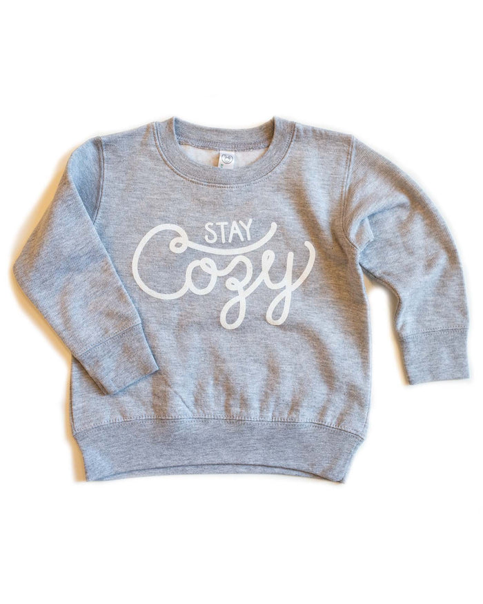 Little hills + trails co. boy stay cozy toddler crewneck in heather grey