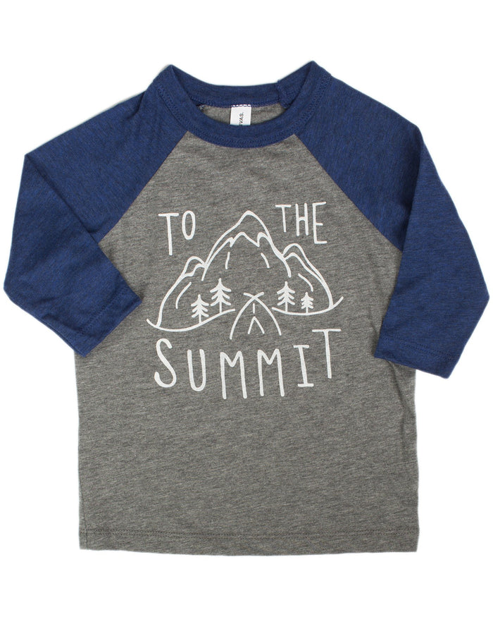 Little hills + trails co. boy to the summit toddler tee in dark grey + blue