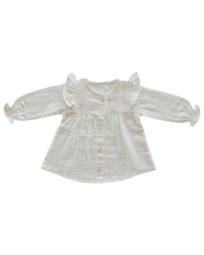Little jamie kay girl 0-3 ava blouse in coconut