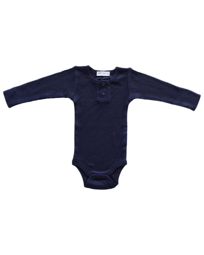 Little jamie kay baby boy nb cotton modal bodysuit in navy