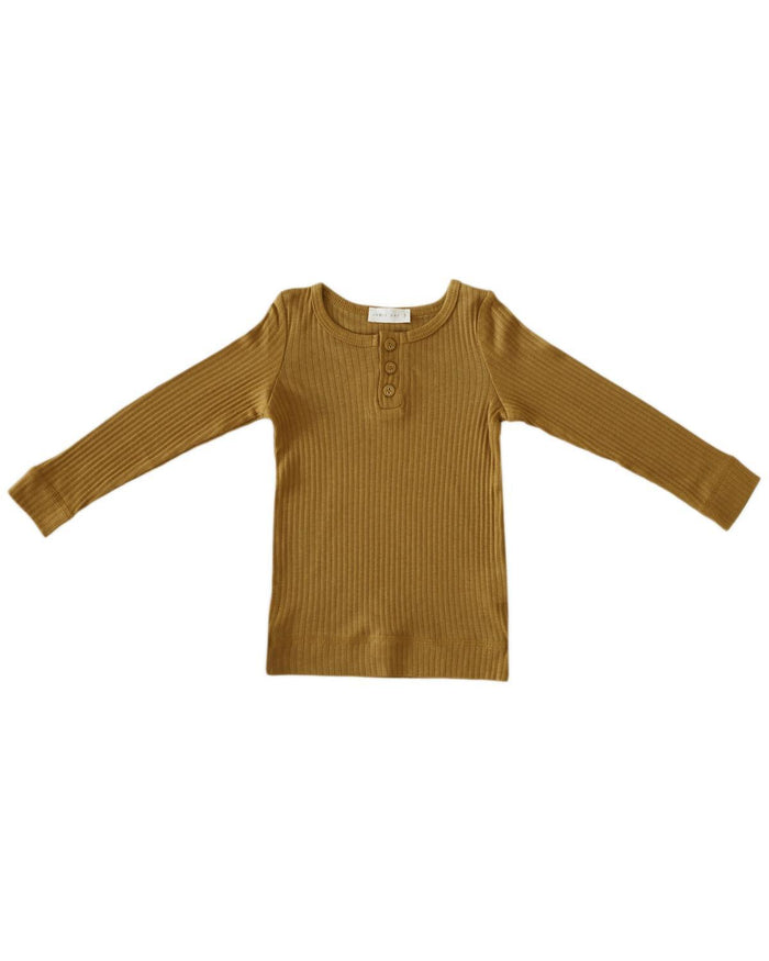 Little jamie kay boy 1y cotton modal henley in golden