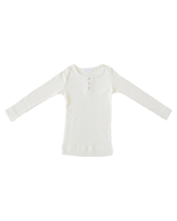 Little jamie kay boy 1y cotton modal henley in milk