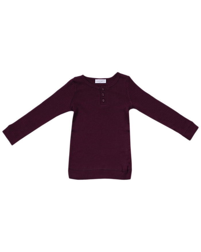 Little jamie kay boy 1y cotton modal henley in mulberry