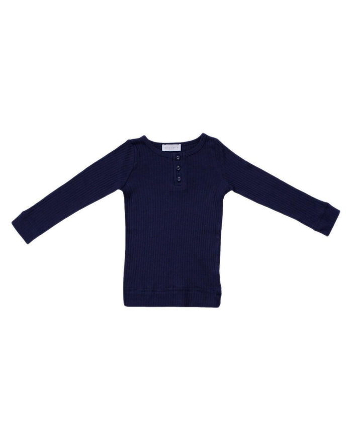 Little jamie kay boy 1y cotton modal henley in navy
