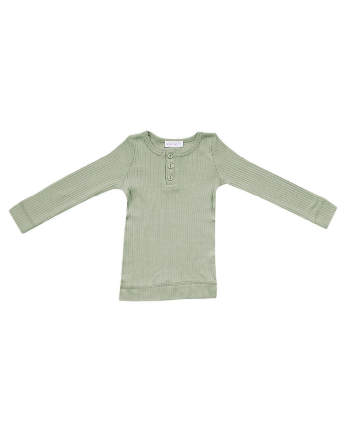 Little jamie kay boy 1y cotton modal henley in sage
