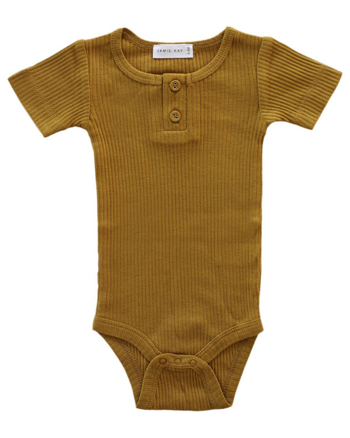 Little jamie kay baby girl nb cotton modal tee bodysuit in golden