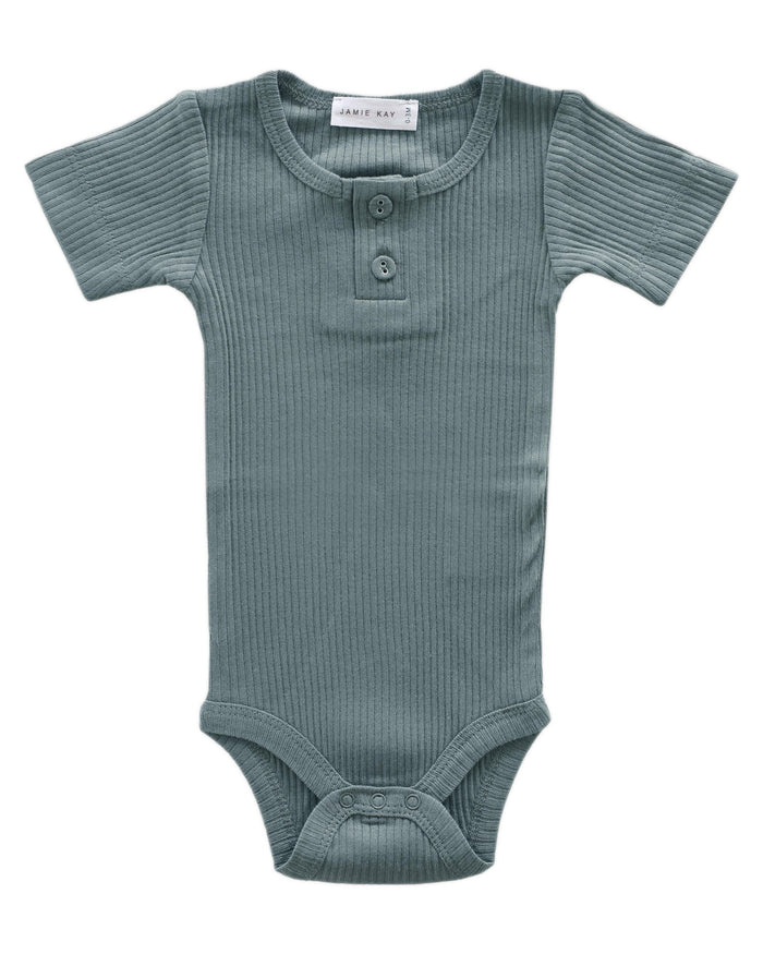 Little jamie kay baby girl nb cotton modal tee bodysuit in storm