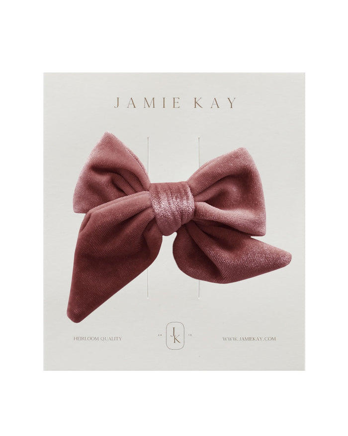 Little jamie kay accessories harper velvet bow in pink lemonade