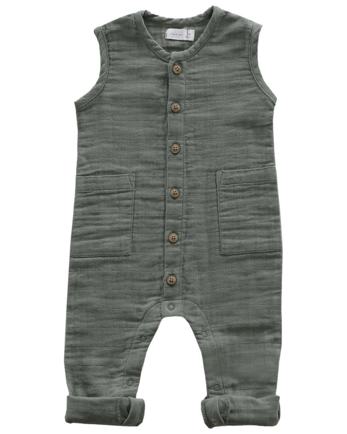 Little jamie kay baby boy 0-3 thomas romper in willow