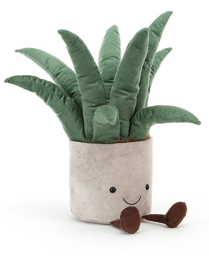 Little jellycat play big potted plant aloe vera