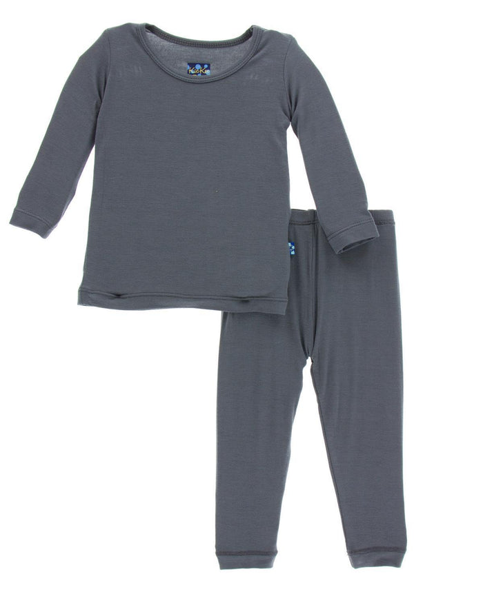 Little kickee pants boy 2 LS Pajama Set in Stone