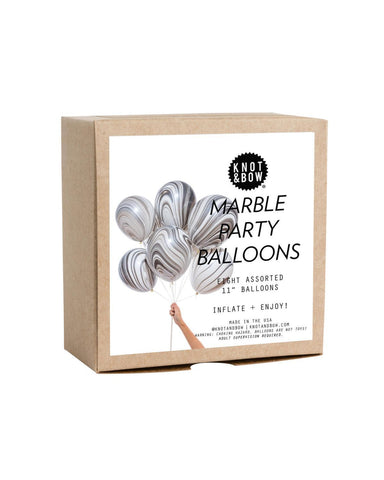 Little knot + bow paper+party 8 Classic Balloons in Black + White Marble