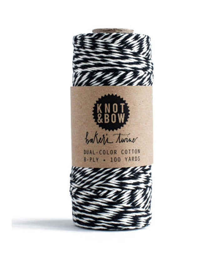 Little knot + bow paper+party Baker's Twine in Black + White