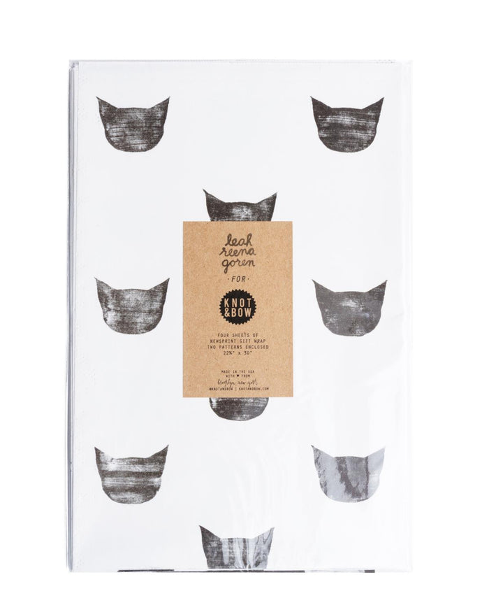 Little knot + bow paper+party Black Cats Gift Wrap