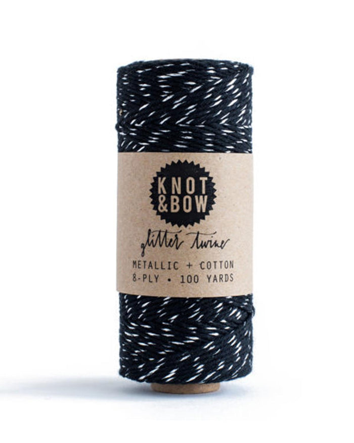 Little knot + bow paper+party Glitter Twine in Silver + Black