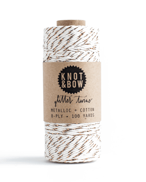 Little knot + bow paper+party Gold Glitter Twine