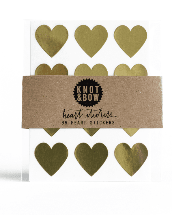 Little knot + bow paper+party Heart Stickers in Gold