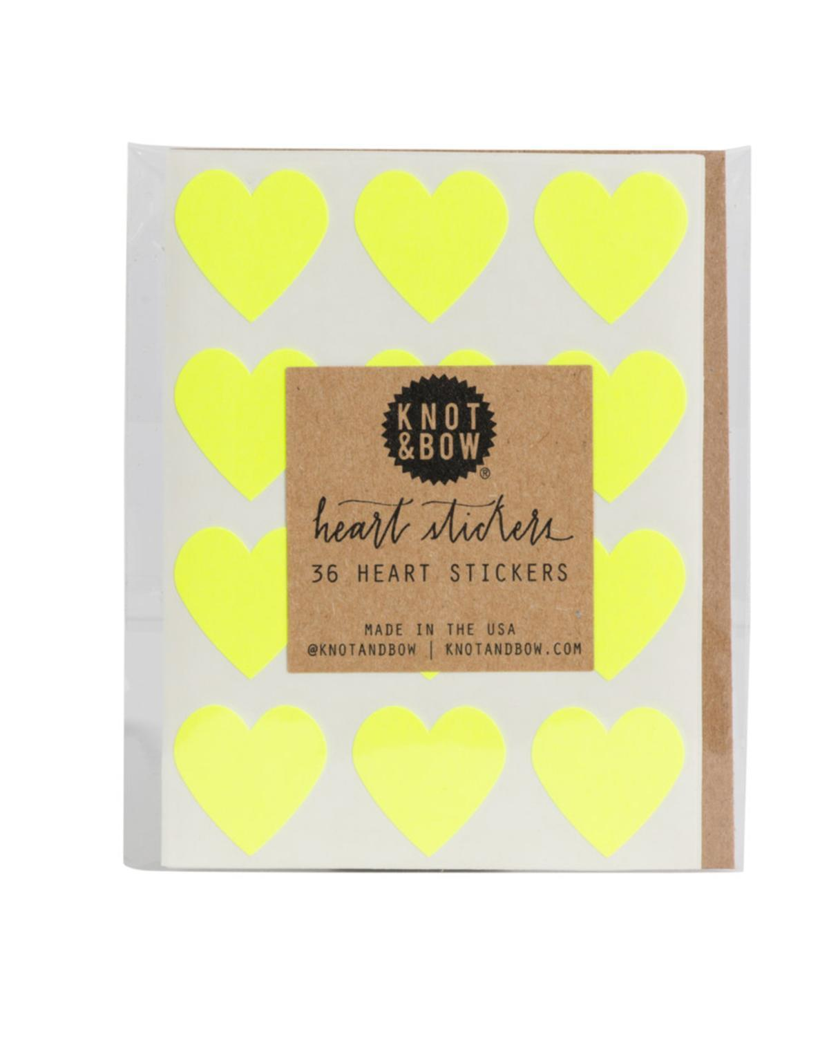 Little knot + bow paper+party Heart Stickers in Neon Yellow