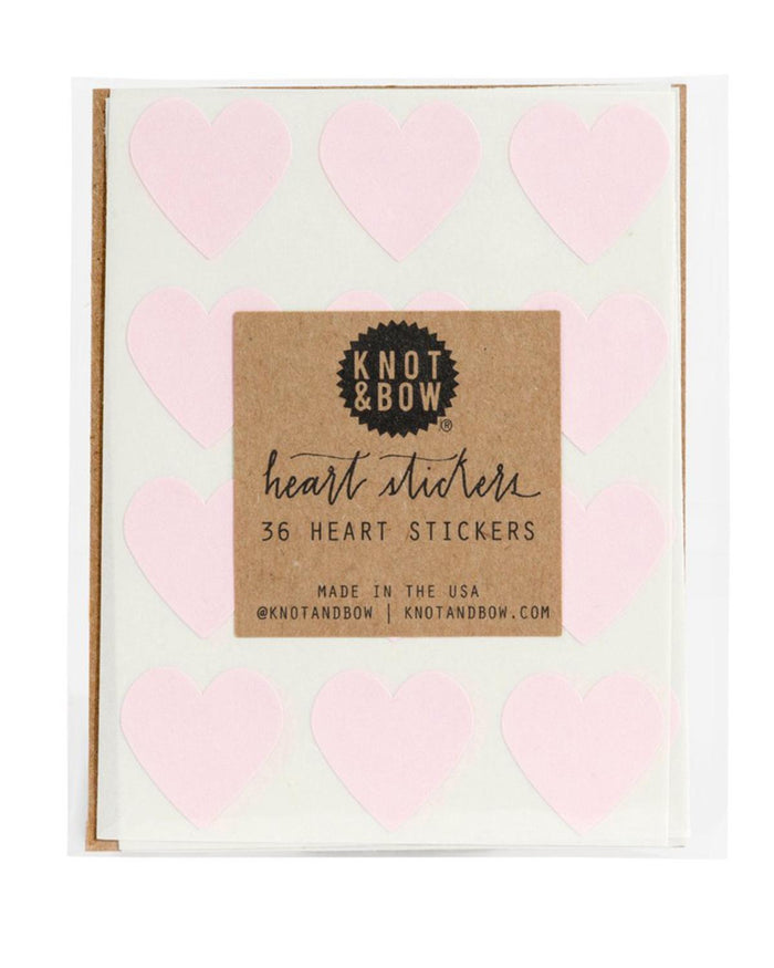Little knot + bow paper+party Heart Stickers in Pink