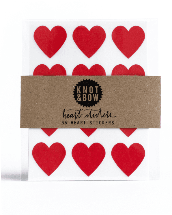 Little knot + bow paper+party Heart Stickers in Red
